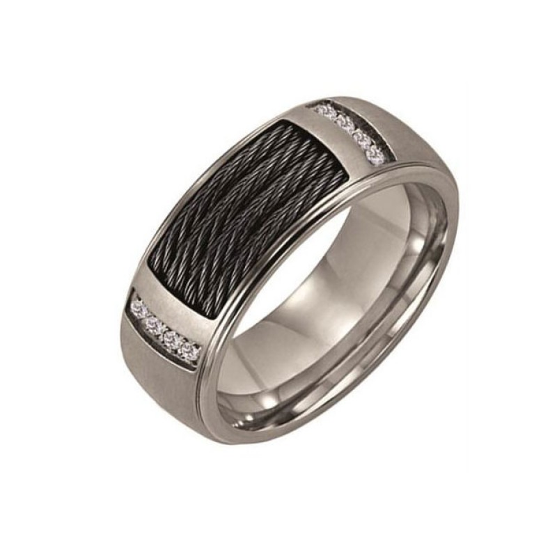 Triton 8mm Titanium Step Edge Comfort Fit Diamond Band 21-2220
