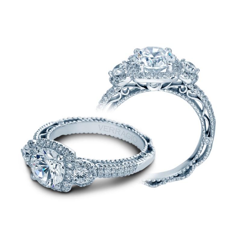 Verragio Three Stone Halo Prong-Set Diamond Engagement Ring
