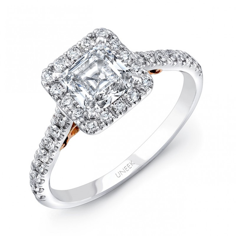 """Uneek """"Fiorire"""" Princess-Cut Diamond Engagement Ring with Square Halo and Pave Shank in 14K White Go"""