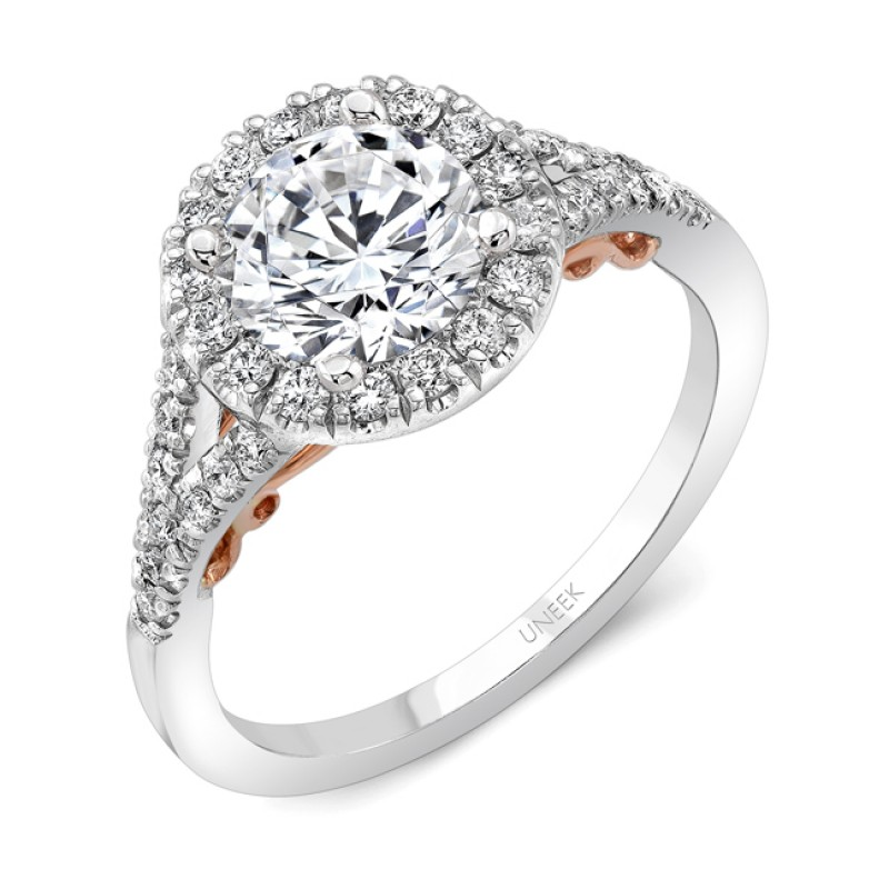 """Uneek """"Cancelli"""" Round Diamond Halo Engagement Ring with Pave Split Shank in 14K White Gold, and Und"""