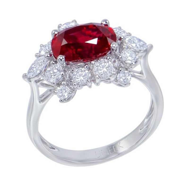 Uneek Oval Ruby Ring with Antique-Style Flower-Shaped Diamond Halo, in 18K White Gold