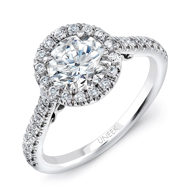 """Uneek """"Fiorire"""" Round Diamond Halo Engagement Ring with Pave Shank and Under-the-Head Filigree, in 1"""