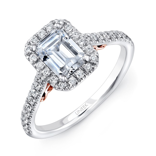 "Uneek ""Fiorire"" Emerald-Cut Diamond Halo Engagement Ring with Pave Shank in 14K White Gold, and Unde"