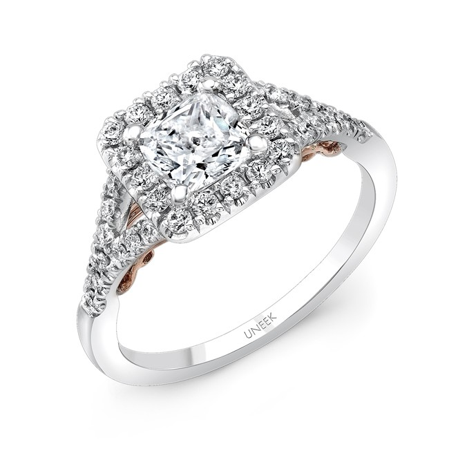 "Uneek ""Cancelli"" Cushion Diamond Halo Engagement Ring with Pave Split Shank in 14K White Gold, and U"