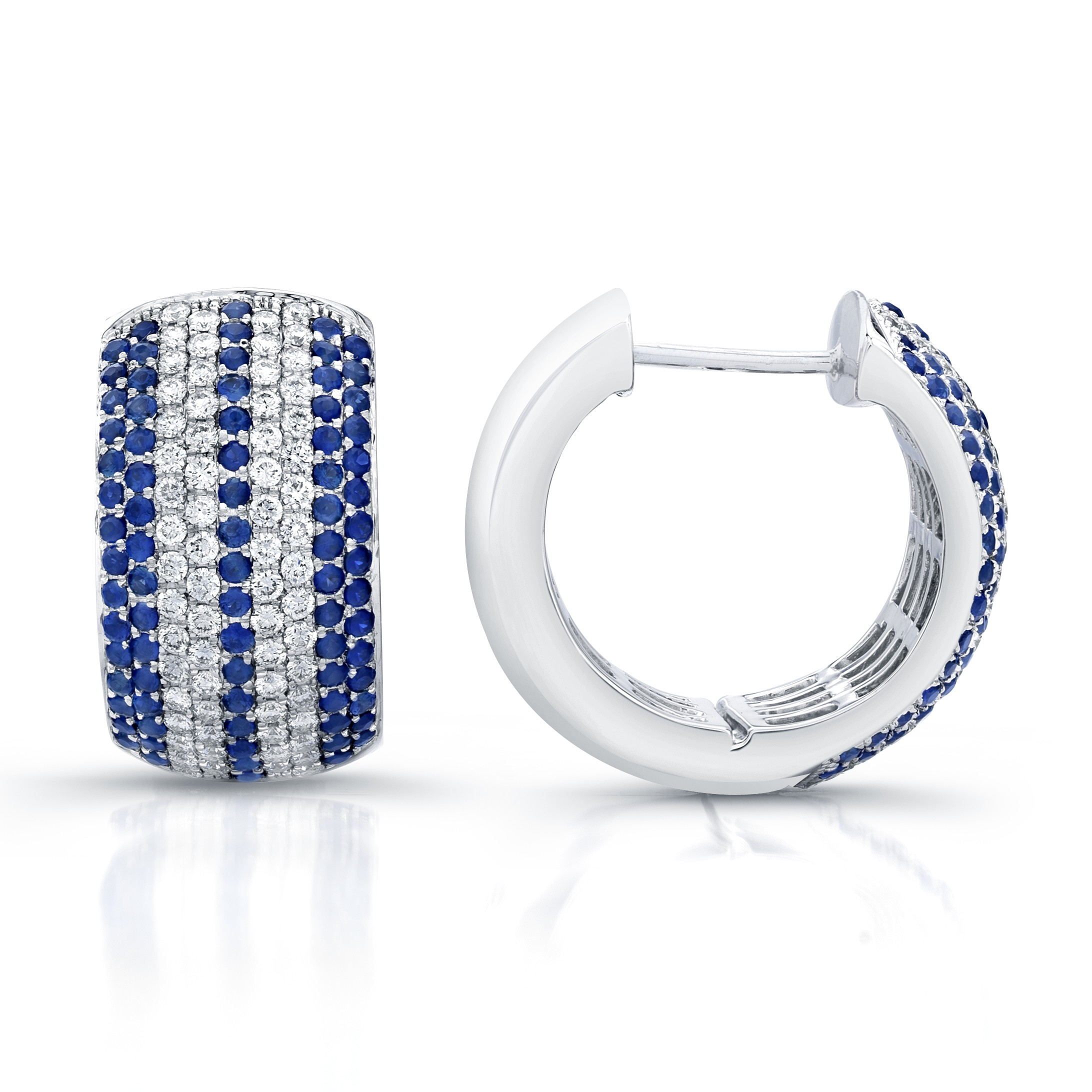 Saphisto Collection 18K White Gold Diamond and Blue Sapphire Hoop Earrings E131