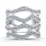 18K White Gold Diamond Wave Wedding Band LVB126