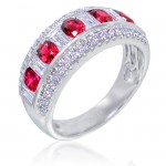 Uneek Retro-Inspired Ruby and Diamond Band in 14K White Gold