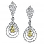 Natureal Collection 18K White Gold Yellow Diamond Pear Shape Earrings LVE182