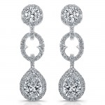 Uneek Round and Pear-Shaped Diamond Dangle Earrings with Halos, in Platinum