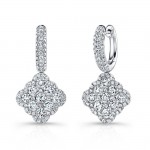 Bouquet Collection 14K White Gold Cushion Shaped Diamond Bias Dangle Earrings LVE300