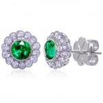Uneek Bezel-Set Round Emerald Stud Earrings with Scalloped Diamond Halos and Vintage-Style Milgrain,