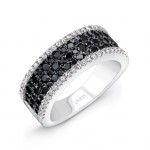 14K White Gold Black Diamond Ring LVR101BL