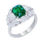 Uneek Three-Stone Emerald Ring with Unique Marquise-Cut Diamond Halo, in 18K White Gold