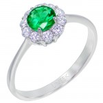 Uneek Round Emerald Ring with Scalloped Diamond Halo and Tapered Shank, in 14K White Gold