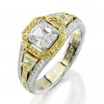 Natureal Platinum White and Yellow Diamond Engagement Ring LVS210