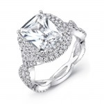 Halo 18K White Gold Radiant Diamond Semi Mount LVS841