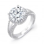 Halo Split Shank 18K White Gold Round Diamond Semi Mount LVS843