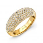 Uneek Pave Set Diamond Yellow Gold Ring LVBW180Y