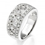 Uneek 18K White Gold Round Diamond Ring WB068
