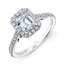 "Uneek ""Fiorire"" Emerald-Cut Diamond Halo Engagement Ring with Pave Shank and Under-the-Head Filigree"