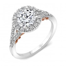 "Uneek ""Cancelli"" Round Diamond Halo Engagement Ring with Pave Split Shank in 14K White Gold, and Und"