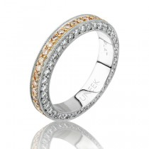 Natureal Collection platinum and Rose Gold Pink and White Diamond Band LVB051