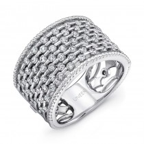 "Uneek ""Point D'Esprit"" Diamond Band with Rope Milgrain Edges, in 14K White Gold"