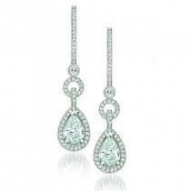Uneek 18K White Gold Pear Diamond Earrings LVE124