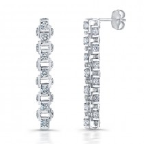Uneek 18K Gold Cube Link Diamond Earrings LVE259
