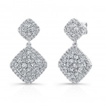 Bouquet Collection 14K White Gold Cushion Shaped Diamond Dangle Earrings LVE290