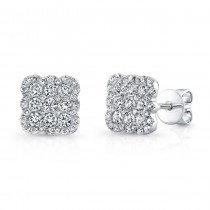 Bouquet Collection 14K White Gold Cushion Shaped Diamond Stud Earrings LVE301
