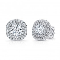 Uneek Round Diamond Stud Earrings with Dreamy Cushion-Shaped Double Halos