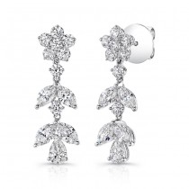 18K White Gold Diamond Dangling Earrings LVEM01