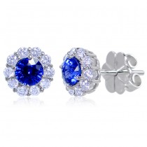 Uneek Round Blue Sapphire Stud Earrings with Scalloped Diamond Halos, in 14K White Gold