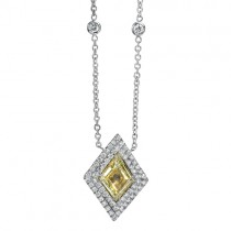 Natureal Collection Fancy Yellow Shield Diamond Pendant Set on 18K White Gold LVN553