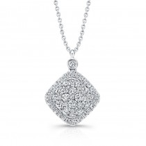 Bouquet Collection Diamond and 14K White Gold Cushion Shaped Pendant LVN655