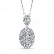 Bouquet Collection Diamond and 14K White Gold Oval Dangle Pendant LVN664