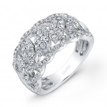 "Uneek ""Leaf Guipure"" Diamond Band with Pave Scalloped Edges, in 14K White Gold"