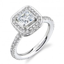 Uneek Platinum Princess-Cut Halo Diamond Engagement Ring LVS078