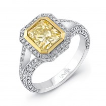 Natureal Collection Platinum and 18K Yellow Gold Radiant-Cut Fancy Yellow Diamond Engagement Ring LV