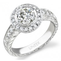 Uneek 18K White Gold Round Diamond Halo Engagement Ring LVS295