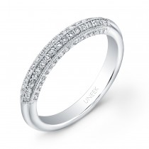 Uneek Diamond Wedding Band with Four-Sided Micropave Upper Shank and Milgrain Edging, in 14K White