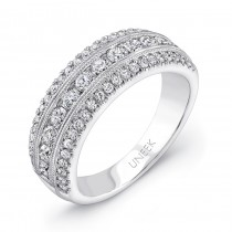Uneek Wide Wedding Band with Three-Row Channel- and Pave-Set Melees, in 14K White Gold
