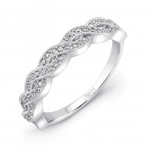 Uneek Crisscross/Twist Diamond Wedding Band in 14K White Gold