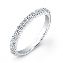 Uneek 15-Diamond Shared-Prong Wedding Band with Scalloped Edges, in 14K White Gold