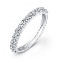 Uneek 13-Diamond Shared-Prong Wedding Band with Scalloped Edges, in 14K White Gold