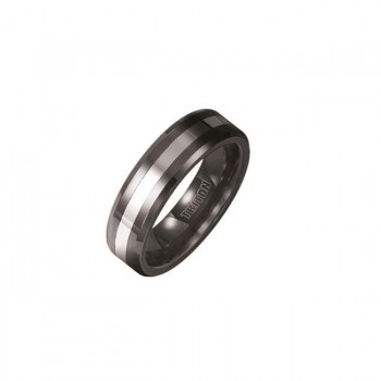 Triton 6mm Tungsten Carbide And Black Ceramic Bevel Edge Comfort Fit Band 11-01-2336