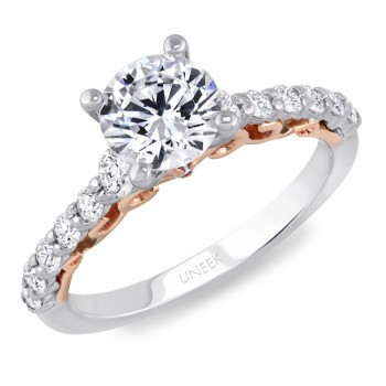 "Uneek ""La Vite Rampicante"" Round Diamond Solitaire Engagement Ring with Shared-Prong Shank in 14K Wh"