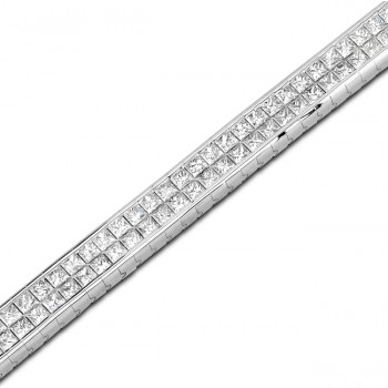 Uneek 18K White Gold Princess-cut Diamond Tennis Bracelet B118