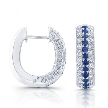 Saphisto Collection 14K White Gold Round Sapphire and Diamond Hoop Earrings E100B